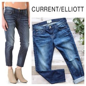 CURRENT WLLIOT The Cropped Roller Distressed Jeans